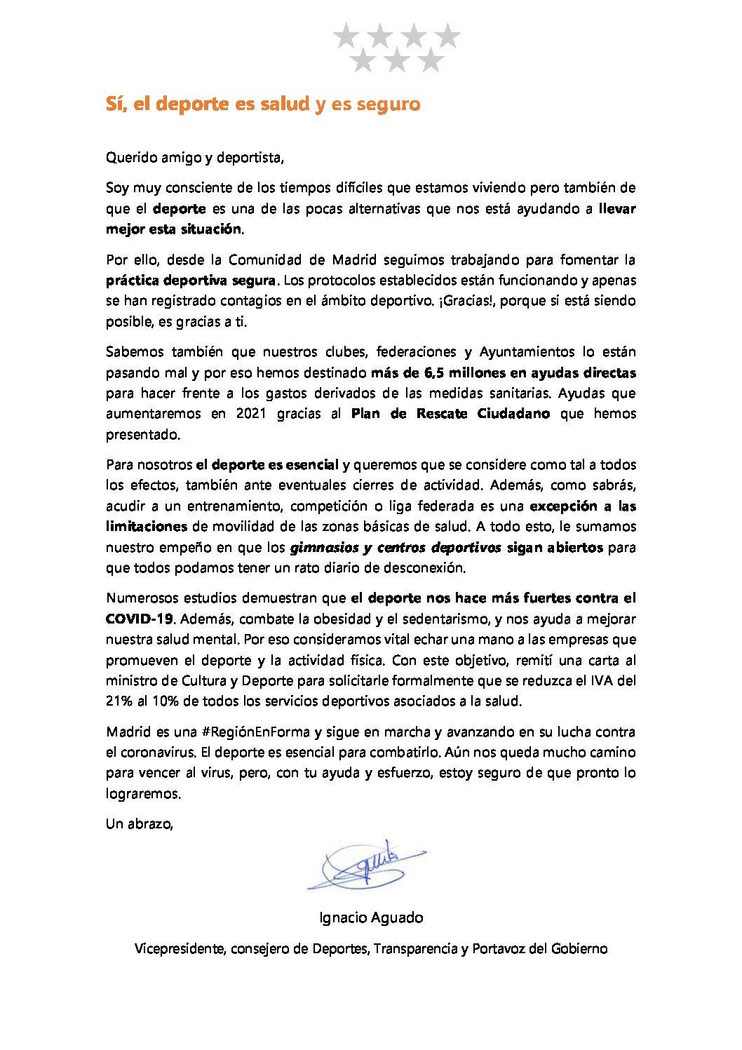 Sí, el deporte es salud y es seguro. Carta del vicepresidente de Madrid Ignacio Agudo.