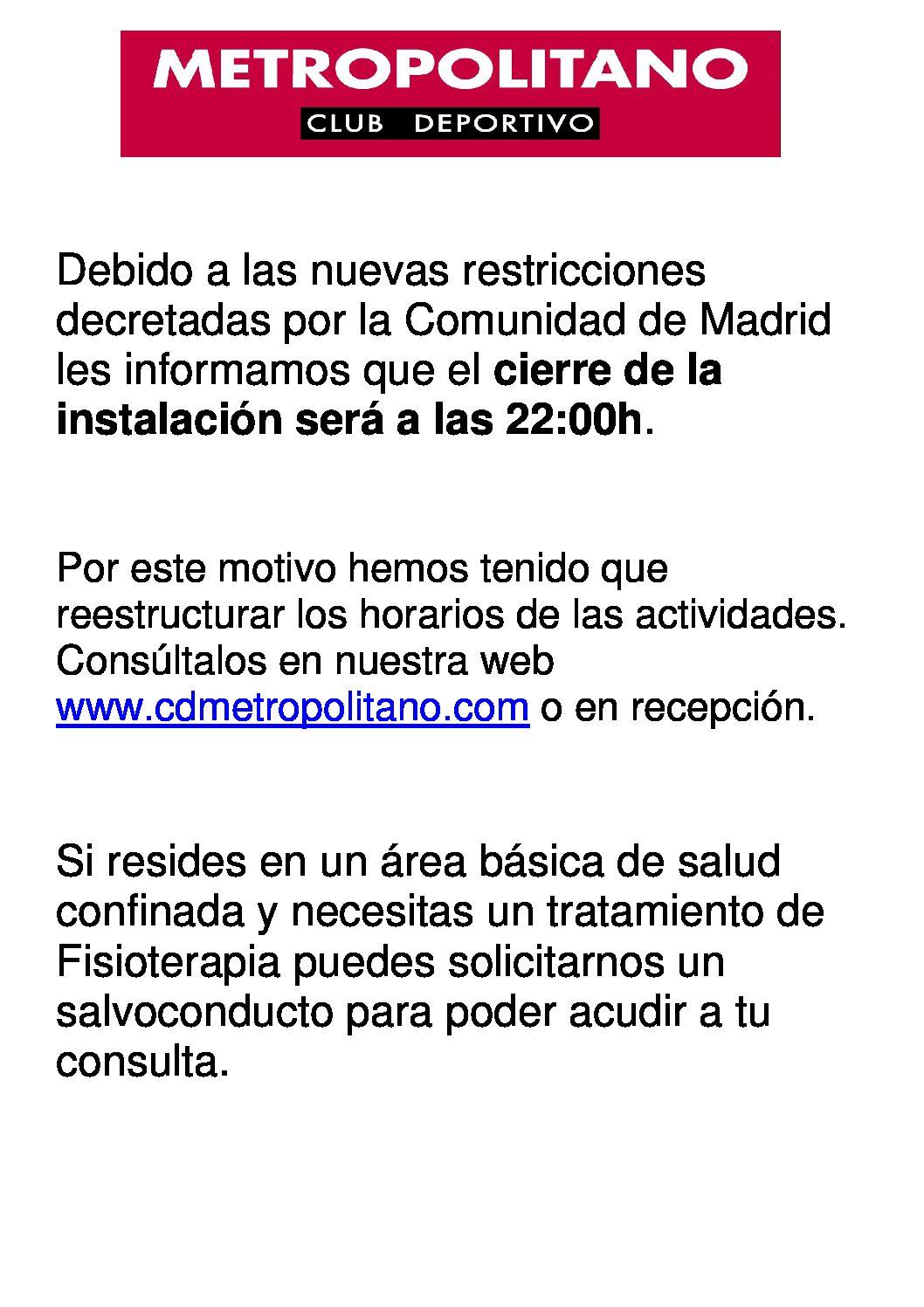 Nuevas Restricciones de la comunidad de Madrid